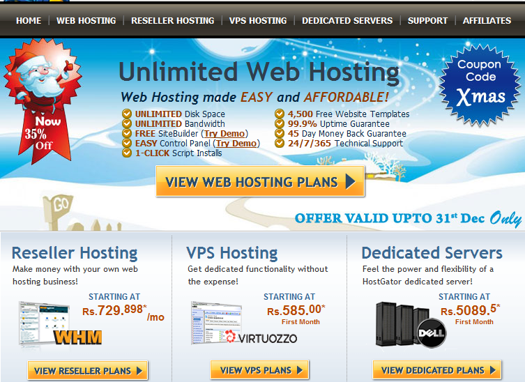 hostgator home page Hostgator India Review Shared Hosting