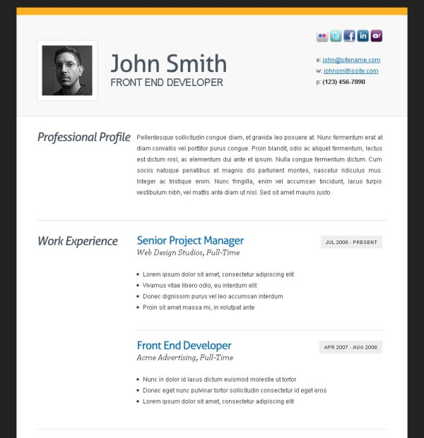 2 cv template Free and Premium Resume Templates for html Websites