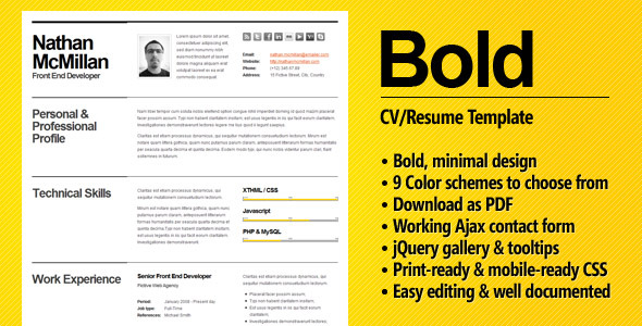 Bold CV Resume Template Minimal Smart Free and Premium Resume Templates for html Websites