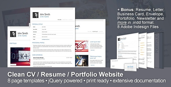 Clean CV Resume Portfolio Website Free and Premium Resume Templates for html Websites