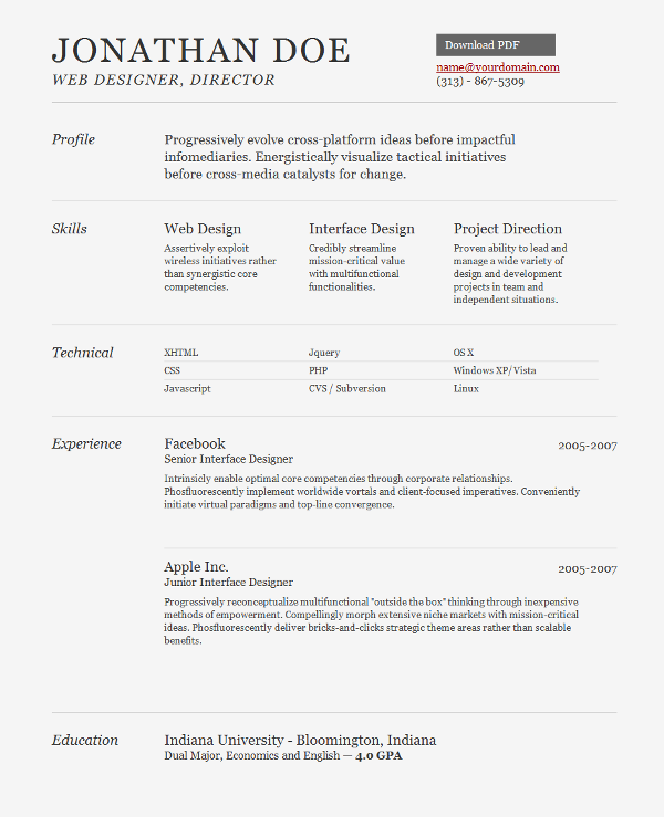 Jonathan Doe Web Designer Director name@yourdomain.com 141820 Free and Premium Resume Templates for html Websites
