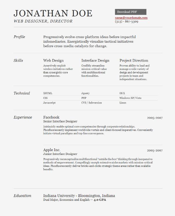 Jonathan Doe Web Designer Director name@yourdomain.com 141820 Free and Premium Resume Templates