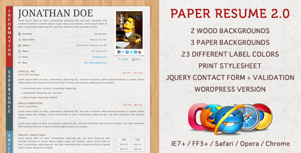 Paper Resume CV Html Template Free and Premium Resume Templates for html Websites