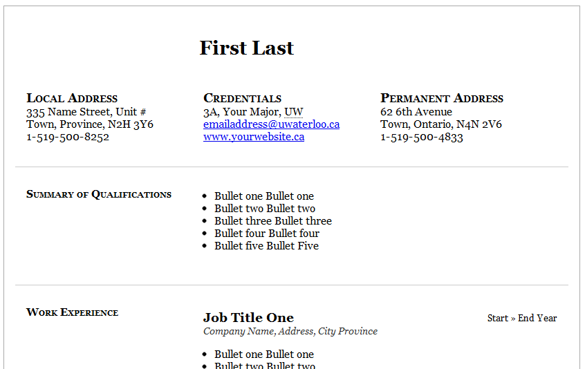 Sans Serif Two Column Resume Templates Free and Premium Resume Templates