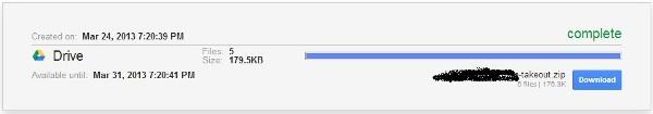 Google Drive Takeout Download