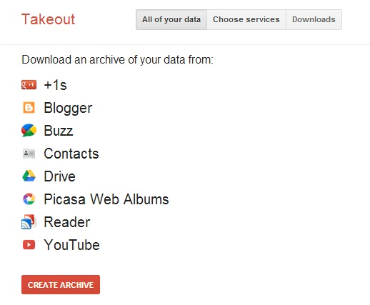 Google Takeout Backup Step 1