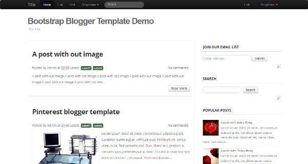 Bootstrap Blogger Template Demo.
