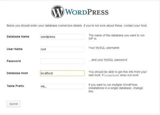 WordPress Database Details How to Install WordPress on your Windows PC using Xampp