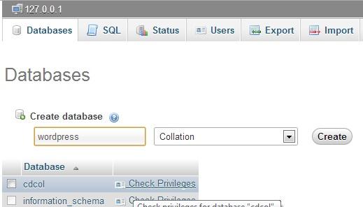 creating Database using Phpmyadmin How to Install WordPress on your Windows PC using Xampp