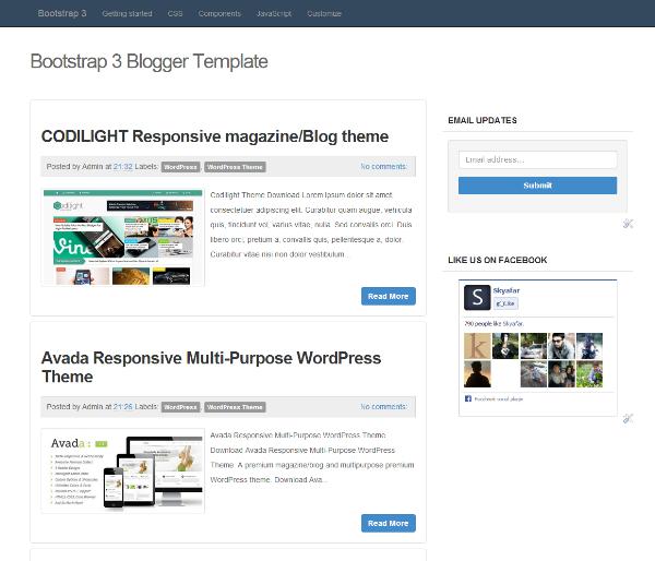 Screenshot Bootstrap 3 Blogger Template
