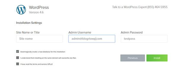 admin login details