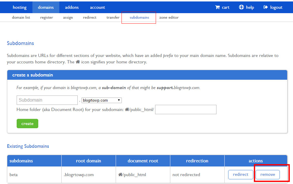 remove-sub-domain